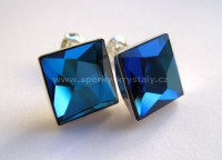 AG 925 Asymetric Square SWAROVSKI Bermuda Blue 10mm