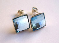 AG 925 Chessboard SWAROVSKI Aquamarine 10mm